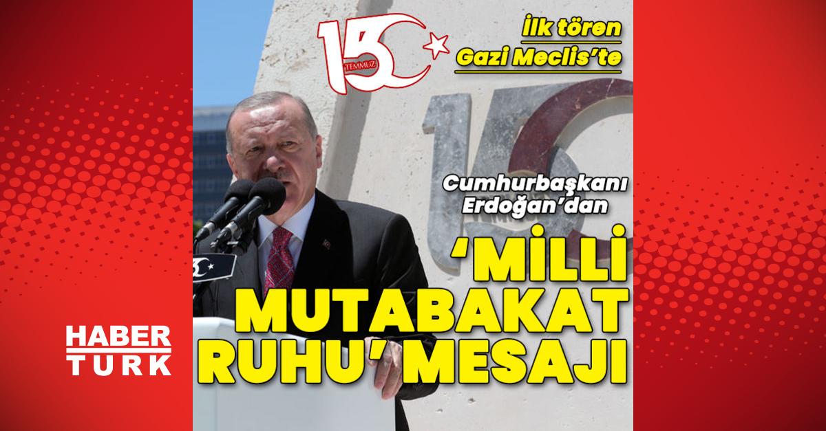 Cumhurbaşkanı Erdoğan 15 Temmuz töreni için TBMM'de