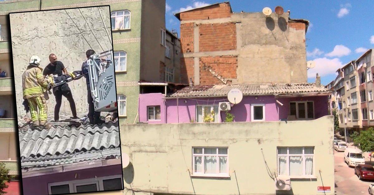 Dengesini kaybedip yan binanın çatısına düştü!
