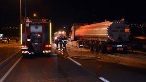 Kırıkkale'de zift yüklü tanker yandı