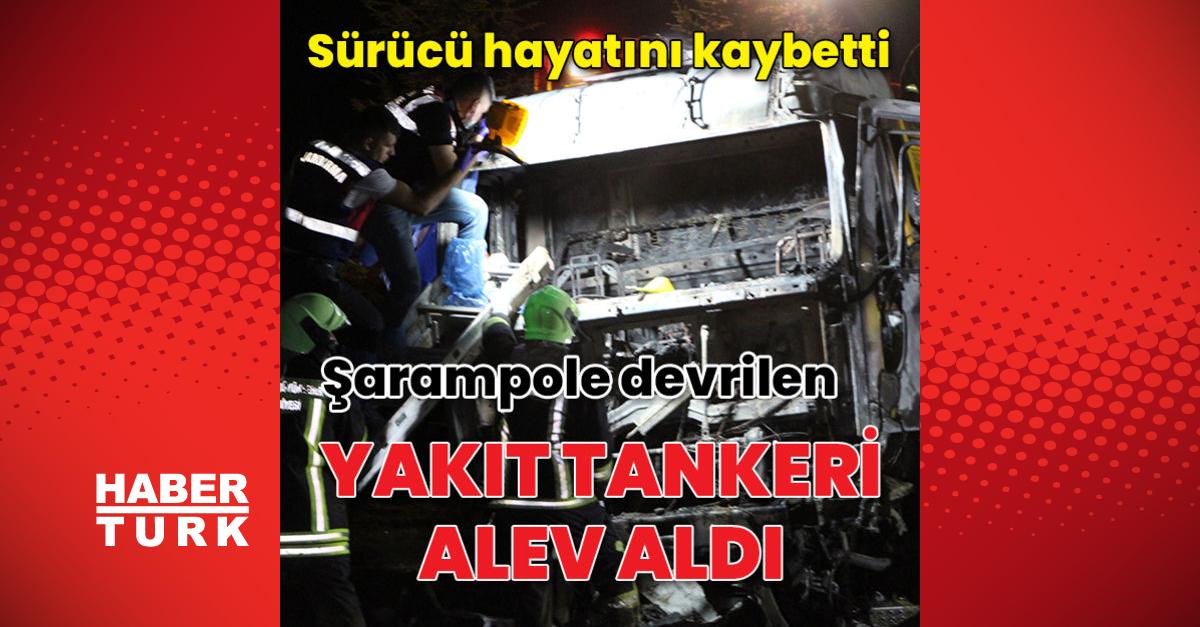 Şarampole devrilen yakıt tankeri alev alev yandı: 1 ölü