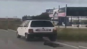 Trafikte dehşete düşüren görüntü