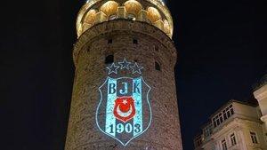 Galata Kulesi'ne Beşiktaş arması