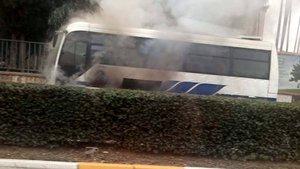 Halk otobüsünde yangın paniği!