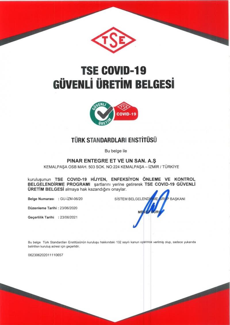 """Pınar Et'ten sektöründe bir ilk daha """"TSE Covid-19 Güvenli Üretim Belgesi"""""""
